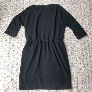 Zara Woman Black Crepe Cold Shoulder Dress